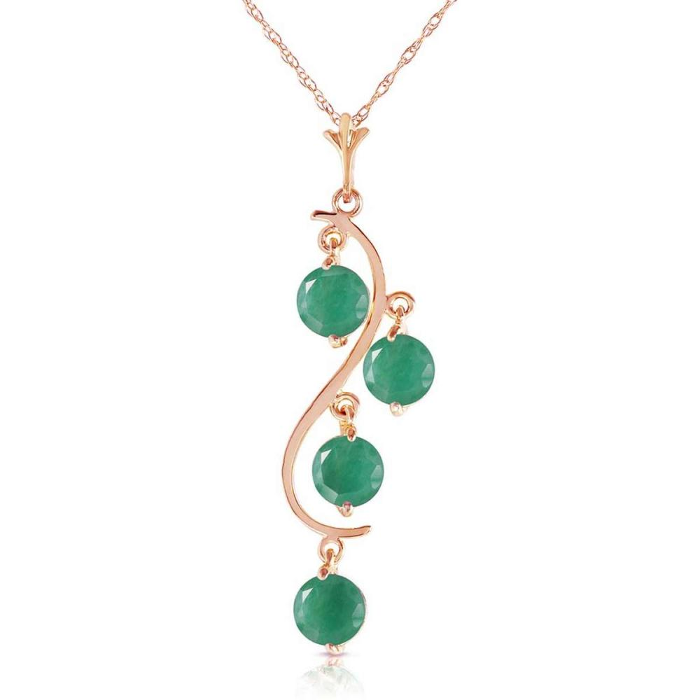 14K Solid Rose Gold Necklace with Natural Emeralds #IRS92547