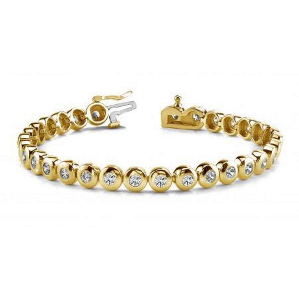 14KT YELLOW GOLD 1 CTW G-H SI2/SI3 BEZEL SET DIAMOND TENNIS BRACELET #IRS20259
