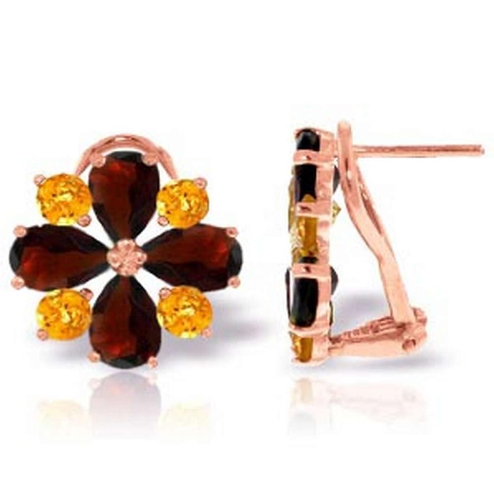 4.85 Carat 14K Solid Rose Gold French Clips Earrings Garnet Citrine #IRS92583