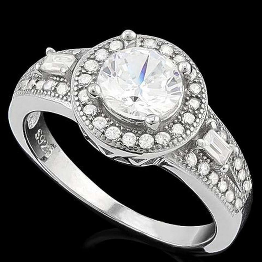1 CARAT FLAWLESS CREATED DIAMOND 925 STERLING SILVER HALO RING #IRS36228