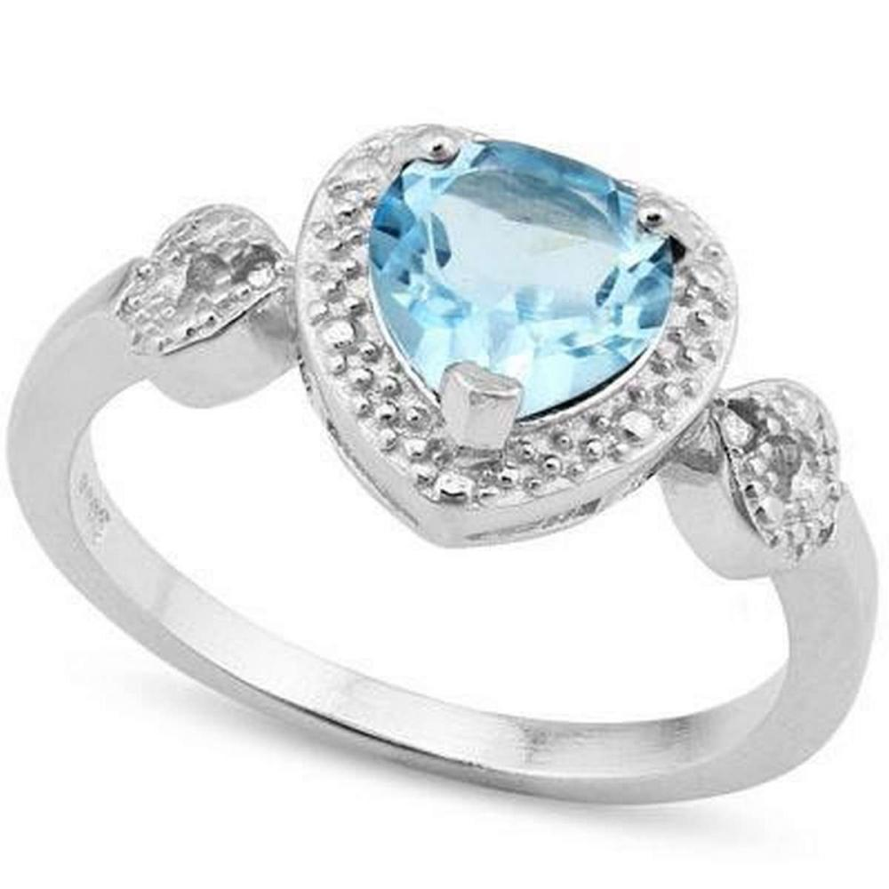 1.412 CARAT TW BLUE TOPAZ  GENUINE DIAMOND PLATINUM OVER 0.925 STERLING SILVER RING #IRS36218
