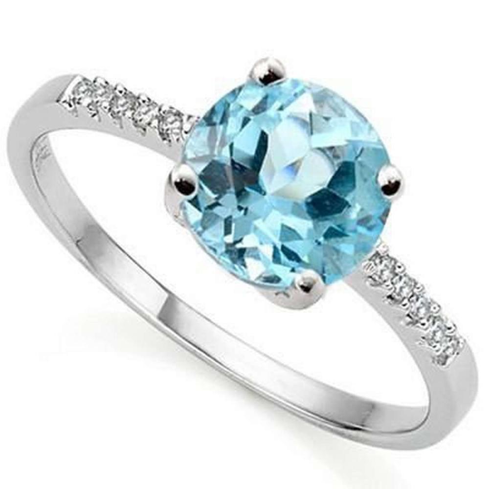 2.41 CARAT TW BLUE TOPAZ  GENUINE DIAMOND PLATINUM OVER 0.925 STERLING SILVER RING #IRS36208