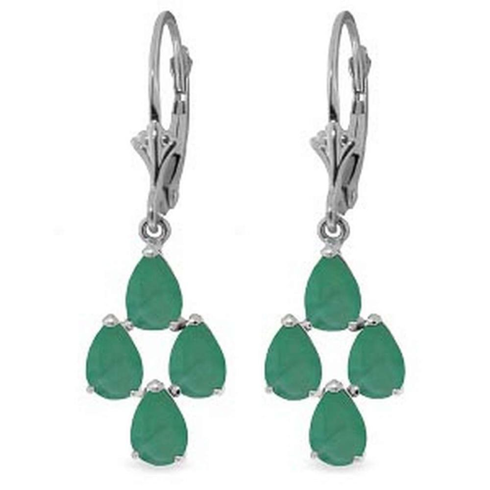 4.5 Carat 14K Solid White Gold Gazelle Emerald Earrings #IRS92560