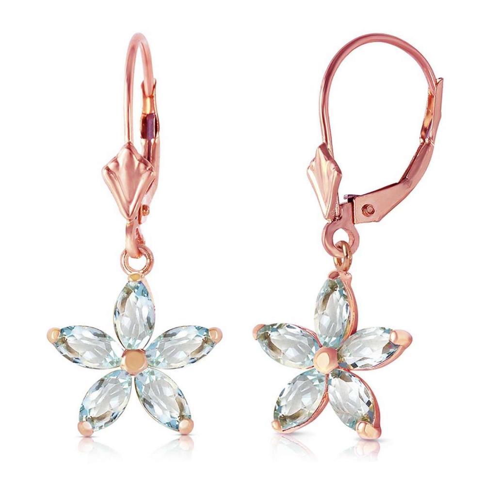 2.8 Carat 14K Solid Rose Gold Aquamarine Starbright Earrings #IRS92565