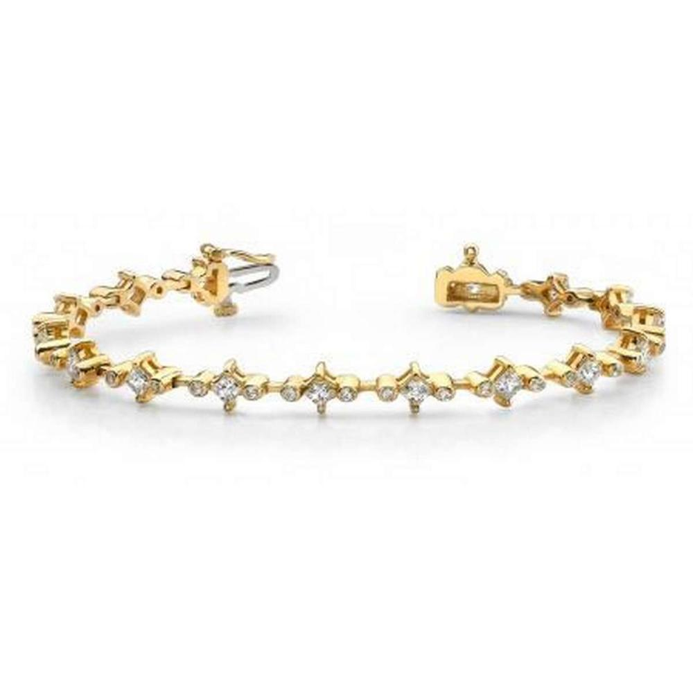 14KT YELLOW GOLD 3 CTW G-H SI2/SI3 PRONG AND BEZEL SET DIAMOND BRACELET #IRS20265