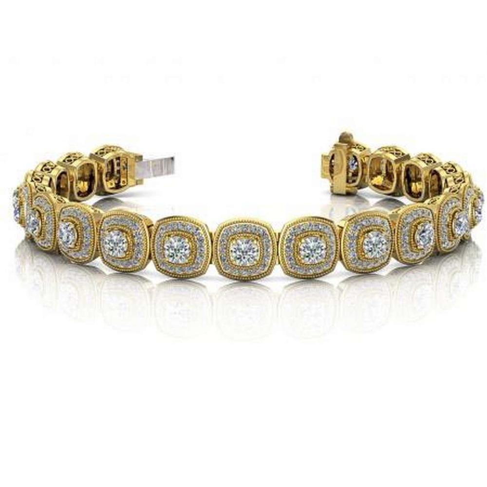 14KT YELLLOW GOLD 3 CTW G-H SI2/SI3 VINTAGE INSPIRED FANCY DIAMOND BRACELET #IRS20283