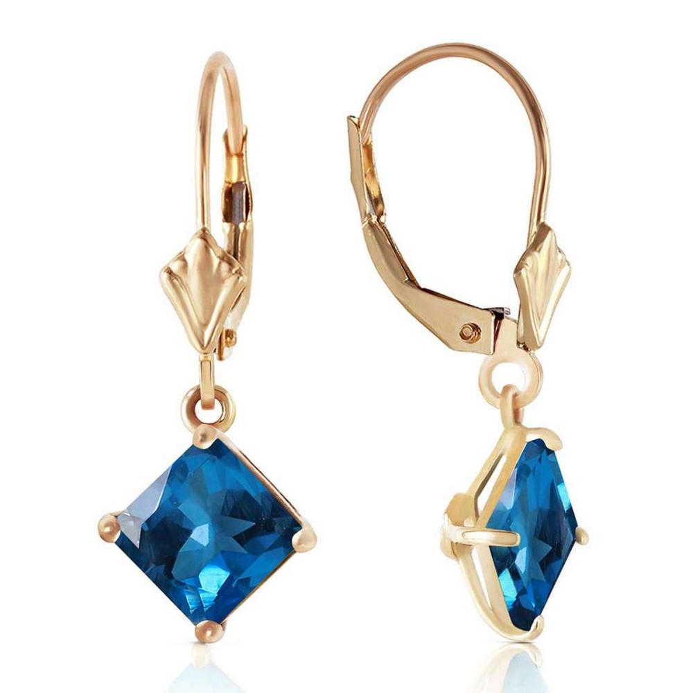 3.2 CTW 14K Solid Gold Demeter Blue Topaz Earrings #IRS92252