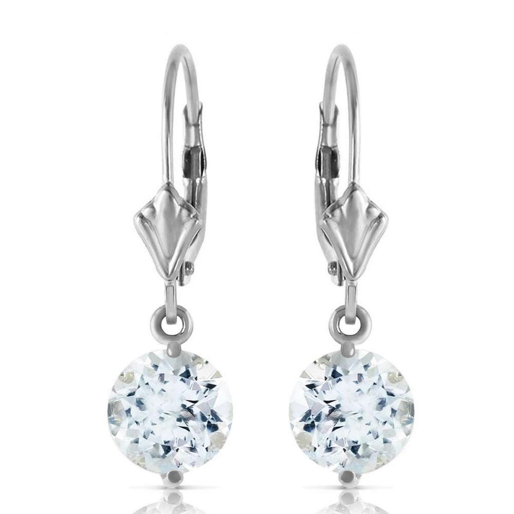 3.1 Carat 14K Solid White Gold Complacency Aquamarine Earrings #IRS92272