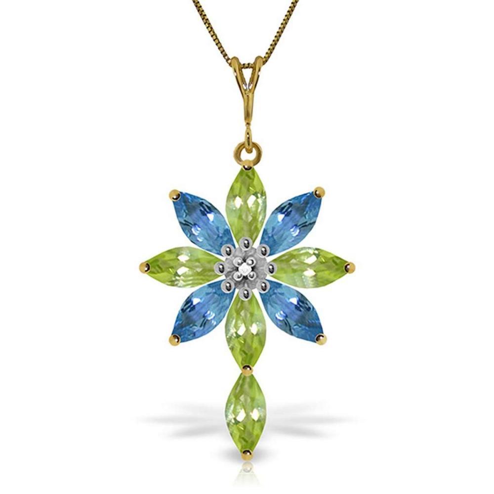 2 Carat 14K Solid Gold Necklace Diamond Peridot Blue Topaz #IRS92714