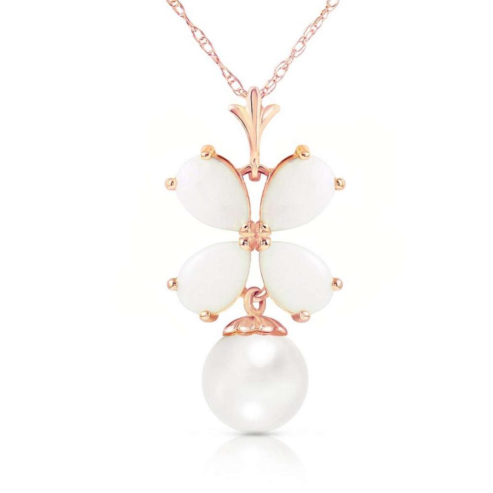 14K Solid Rose Gold Necklace with Natural Opals & pearl #IRS92676