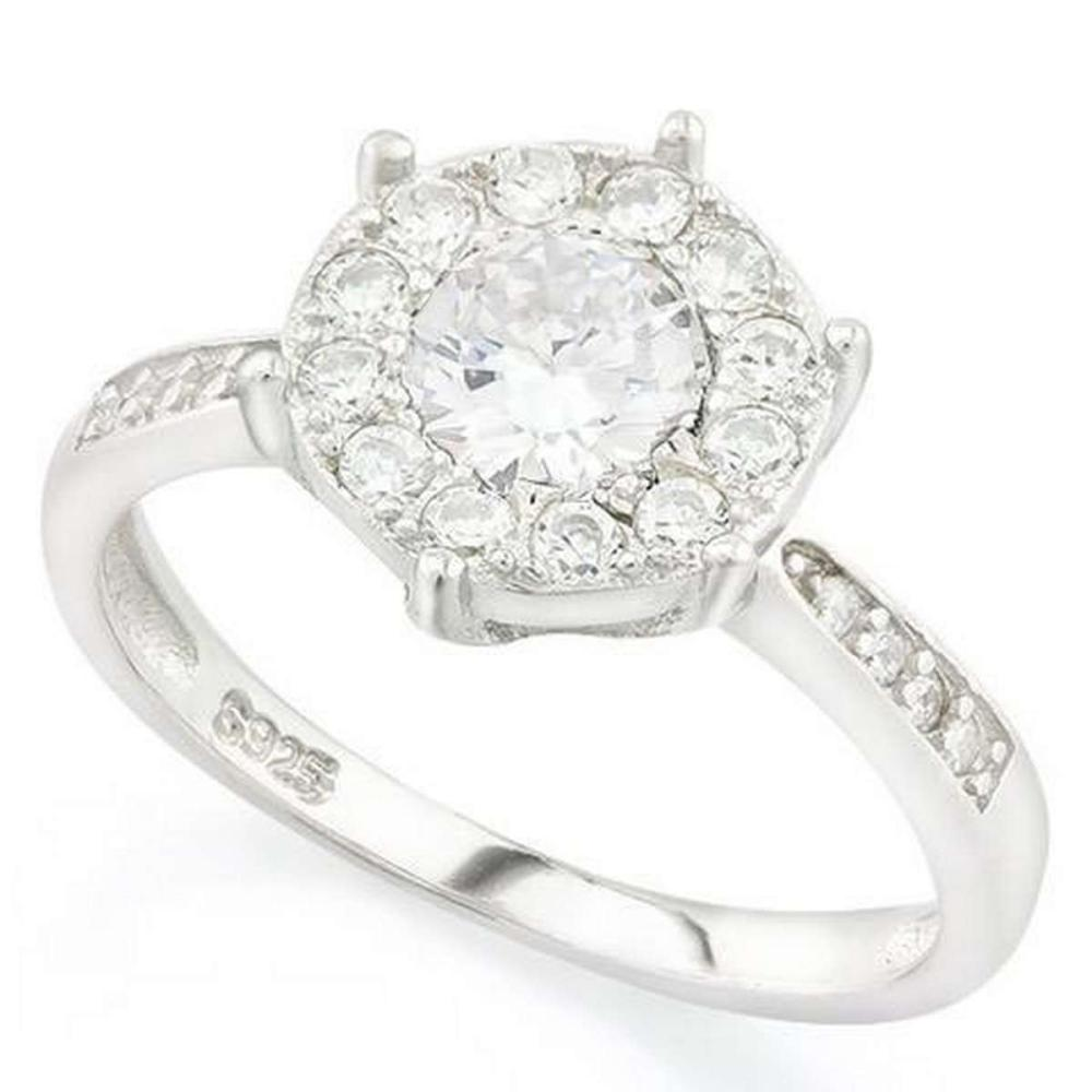 1 1/4 CARAT (25 PCS) FLAWLESS CREATED DIAMOND 925 STERLING SILVER HALO RING #IRS36237