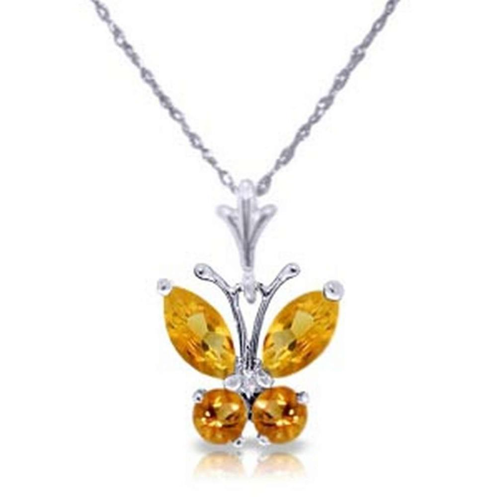 0.6 CTW 14K Solid White Gold Butterfly Necklace Citrine #IRS92239
