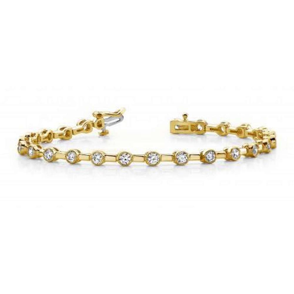 14KT YELLOW GOLD 1 CTW G-H SI2/SI3 CLASSIC COLUMN LINK BEZEL SET BRACELET #IRS20269