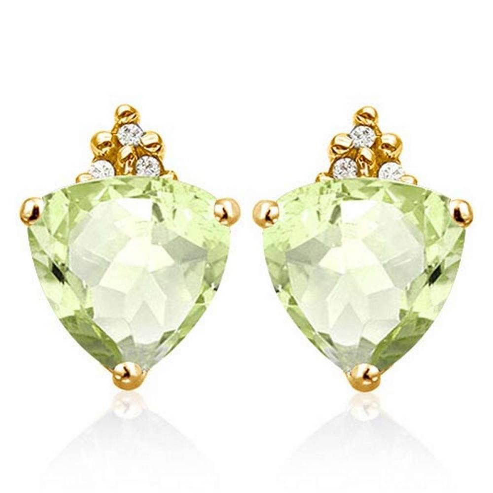 1.35 CARAT GREEN AMETHYST 10K SOLID YELLOW GOLD TRILLION SHAPE EARRING WITH 0.03 CTW DIAMOND #IRS50320