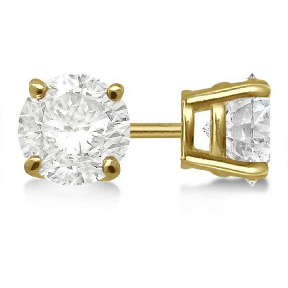CERTIFIED 0.9 CTW ROUND D/SI1 DIAMOND SOLITAIRE EARRINGS IN 14K YELLOW GOLD #IRS20732