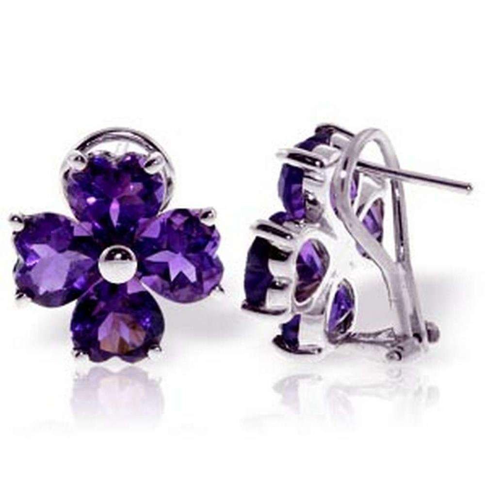 6.5 Carat 14K Solid White Gold Carved On Wood Amethyst Earrings #IRS92641
