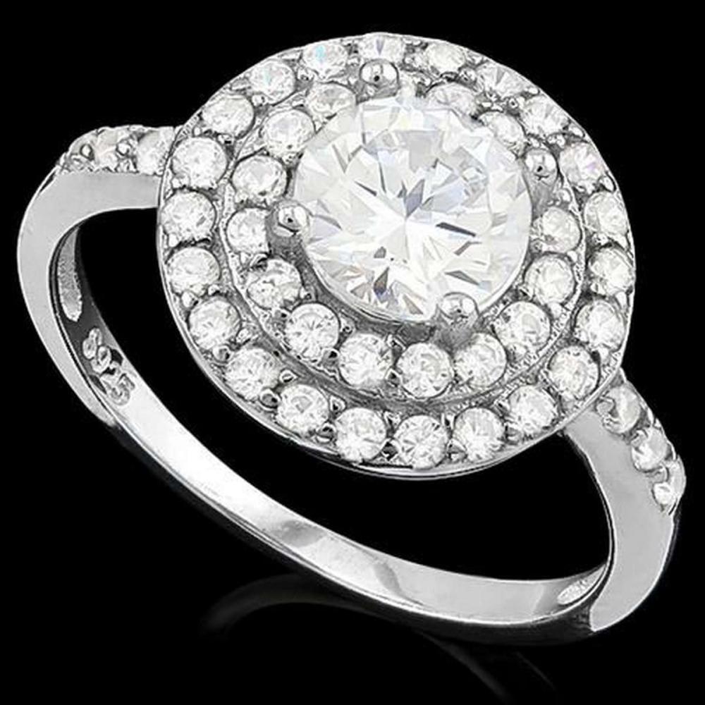 1 4/5 CARAT (53 PCS) FLAWLESS CREATED DIAMOND 925 STERLING SILVER HALO RING #IRS36210