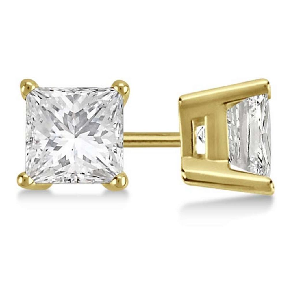 CERTIFIED 1 CTW PRINCESS F/SI1 DIAMOND SOLITAIRE EARRINGS IN 14K YELLOW GOLD #IRS21652