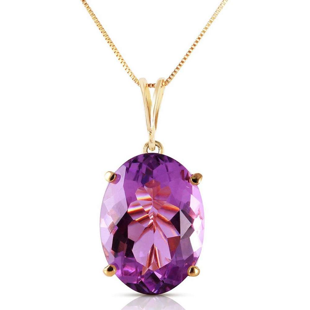 7.55 Carat 14K Solid Gold Necklace Oval Purple Amethyst #IRS92234