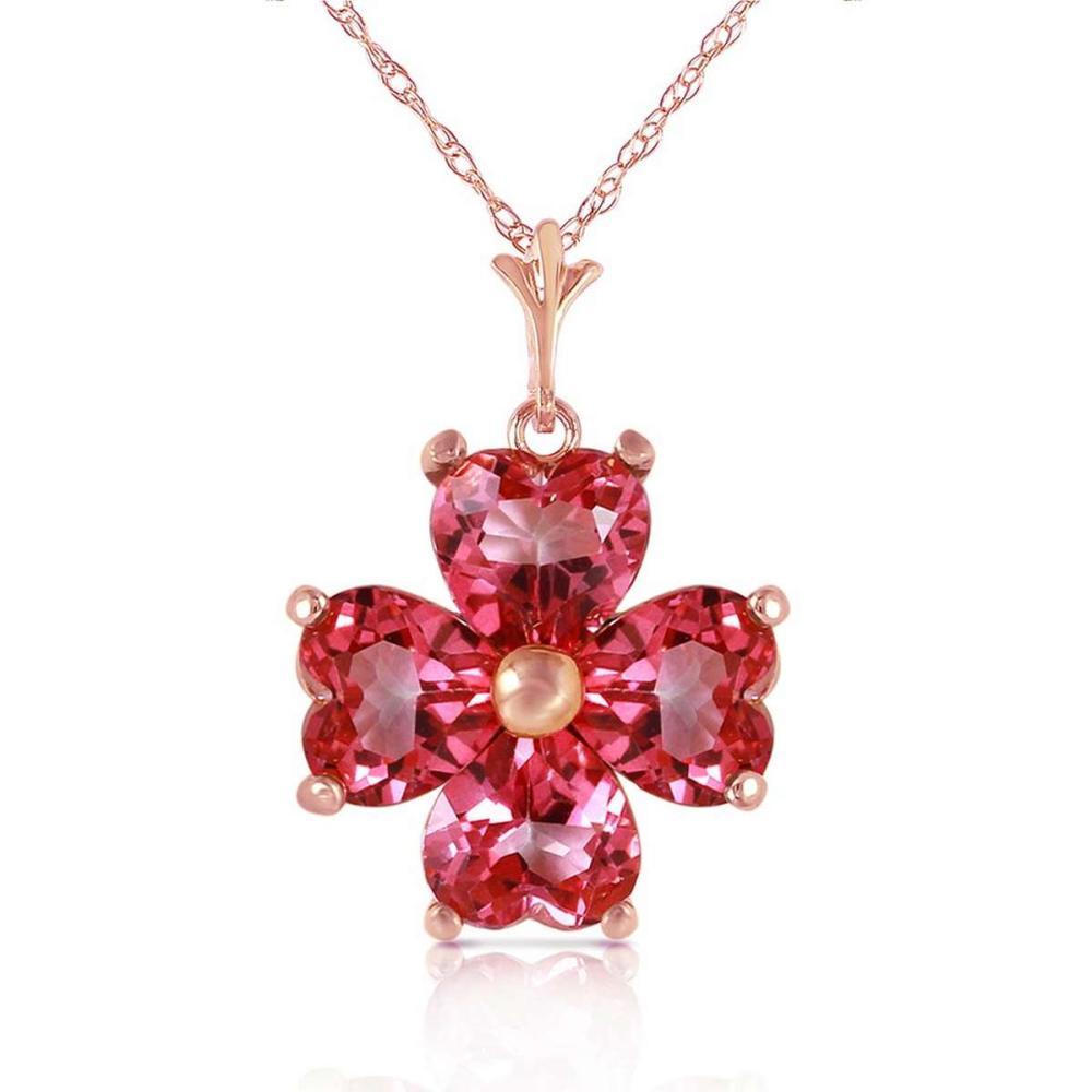 3.8 Carat 14K Solid Rose Gold Heart Cluster Pink Topaz Necklace #IRS92658