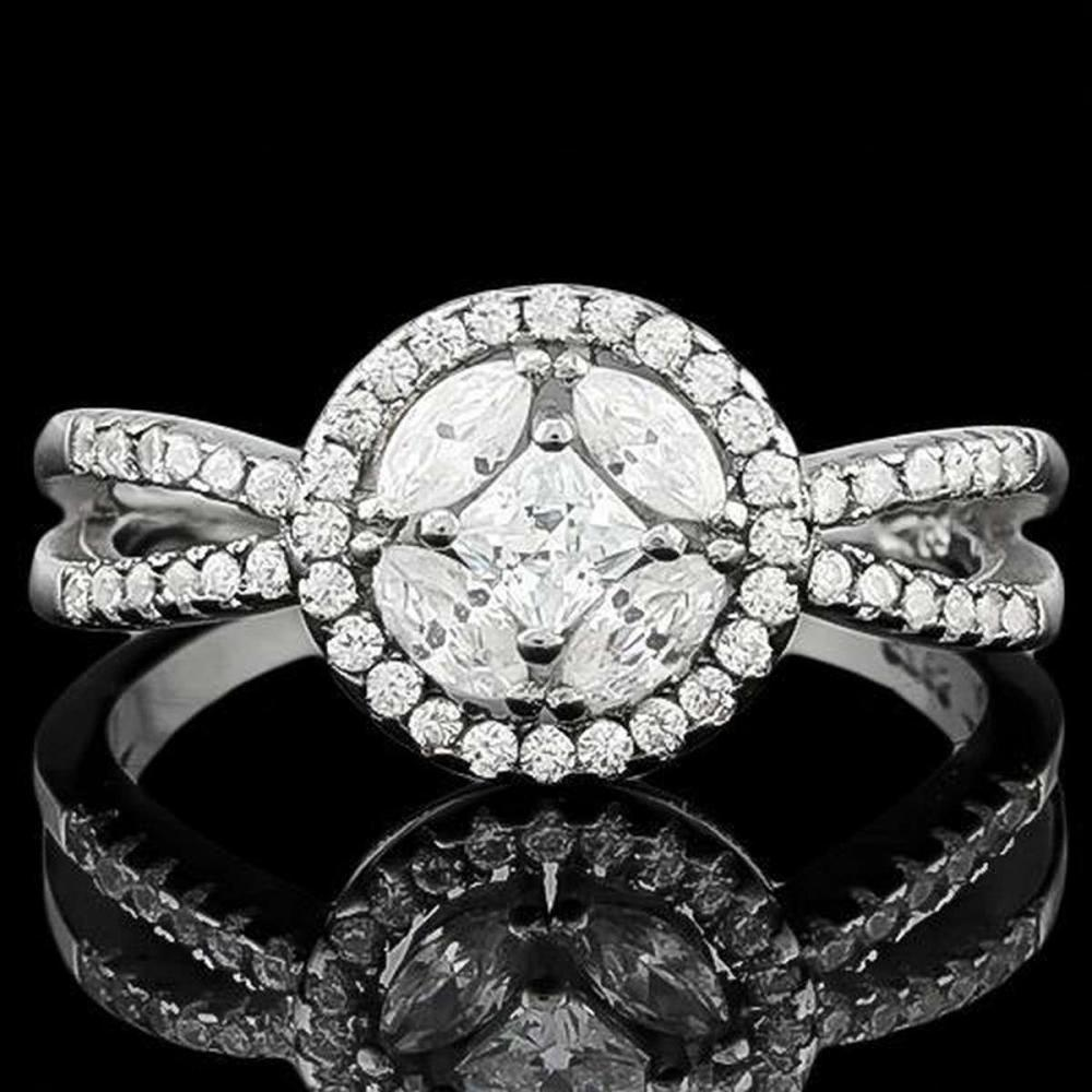 1 1/2 CARAT (57 PCS) FLAWLESS CREATED DIAMOND 925 STERLING SILVER HALO RING #IRS36211