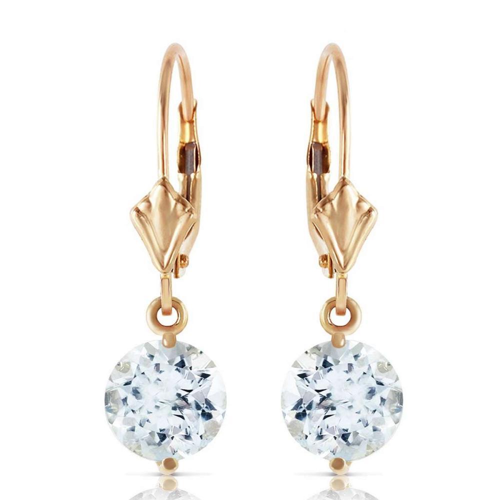 3.1 Carat 14K Solid Gold Prettygirl Aquamarine Earrings #IRS92273