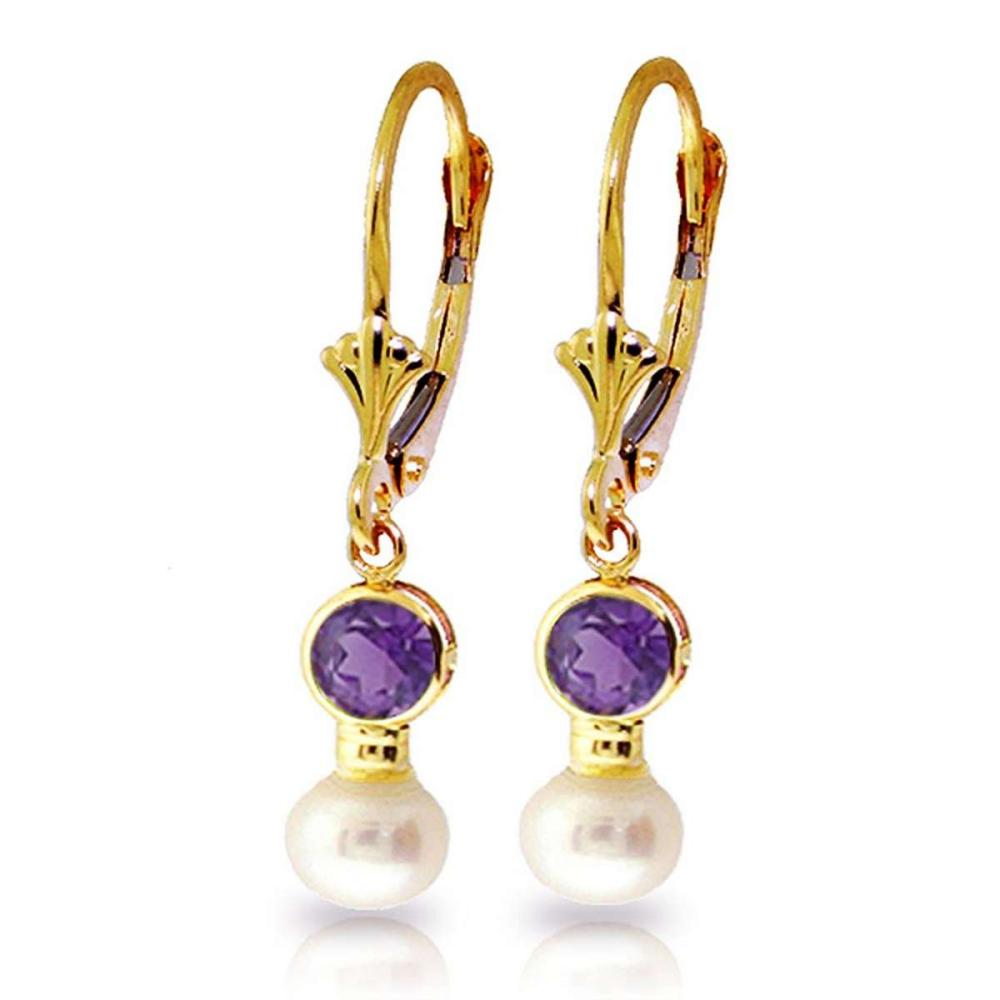 5.2 CTW 14K Solid Gold Leverback Earrings pearl Amethyst #IRS91733
