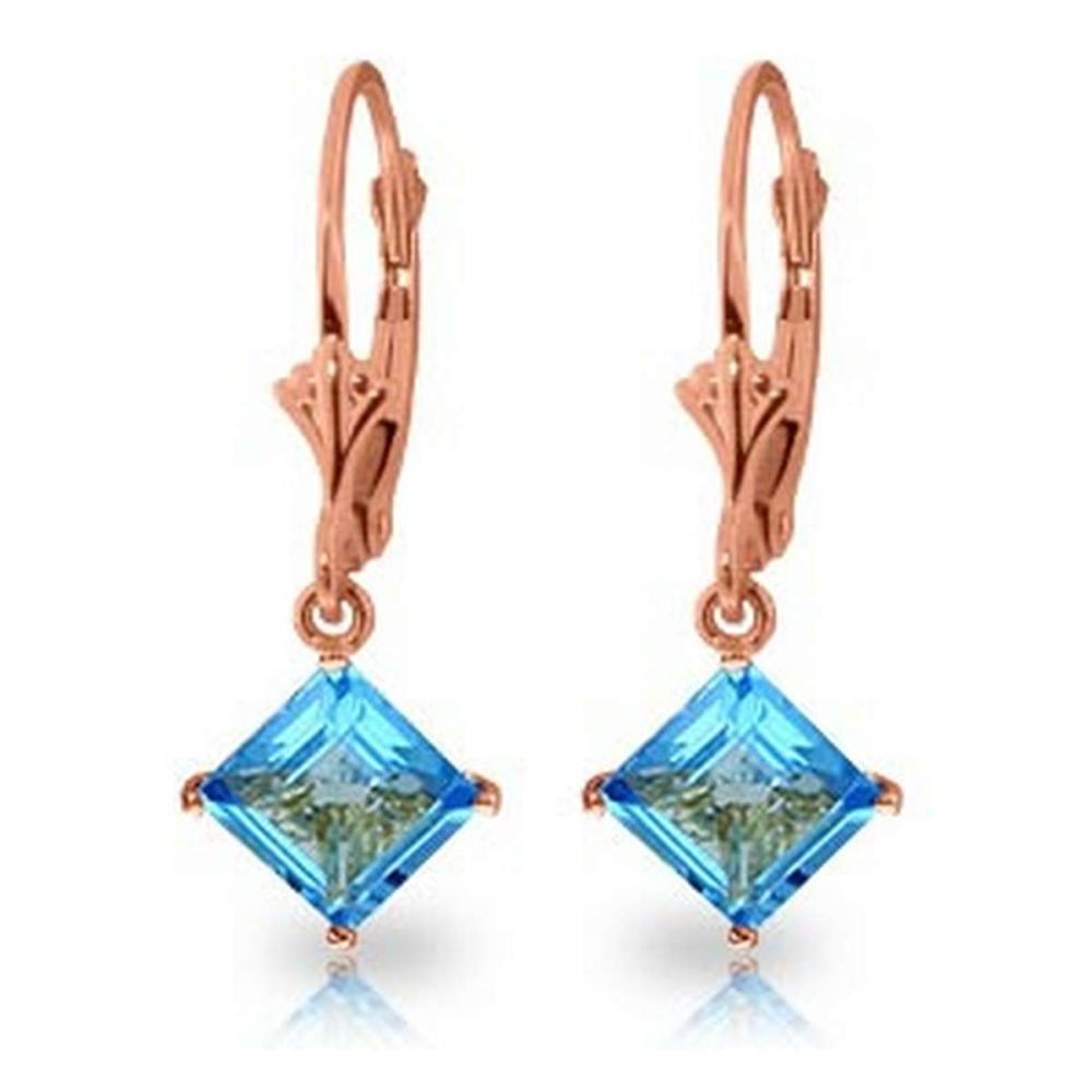 3.2 Carat 14K Solid Rose Gold Blue Topaz Simplicity Earrings #IRS92250