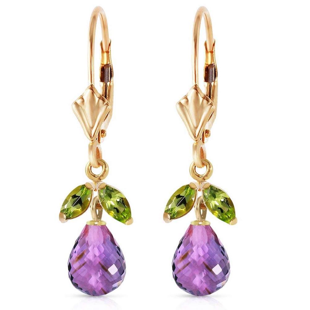 3.4 Carat 14K Solid Gold Virginia Amethyst Peridot Earrings #IRS92699