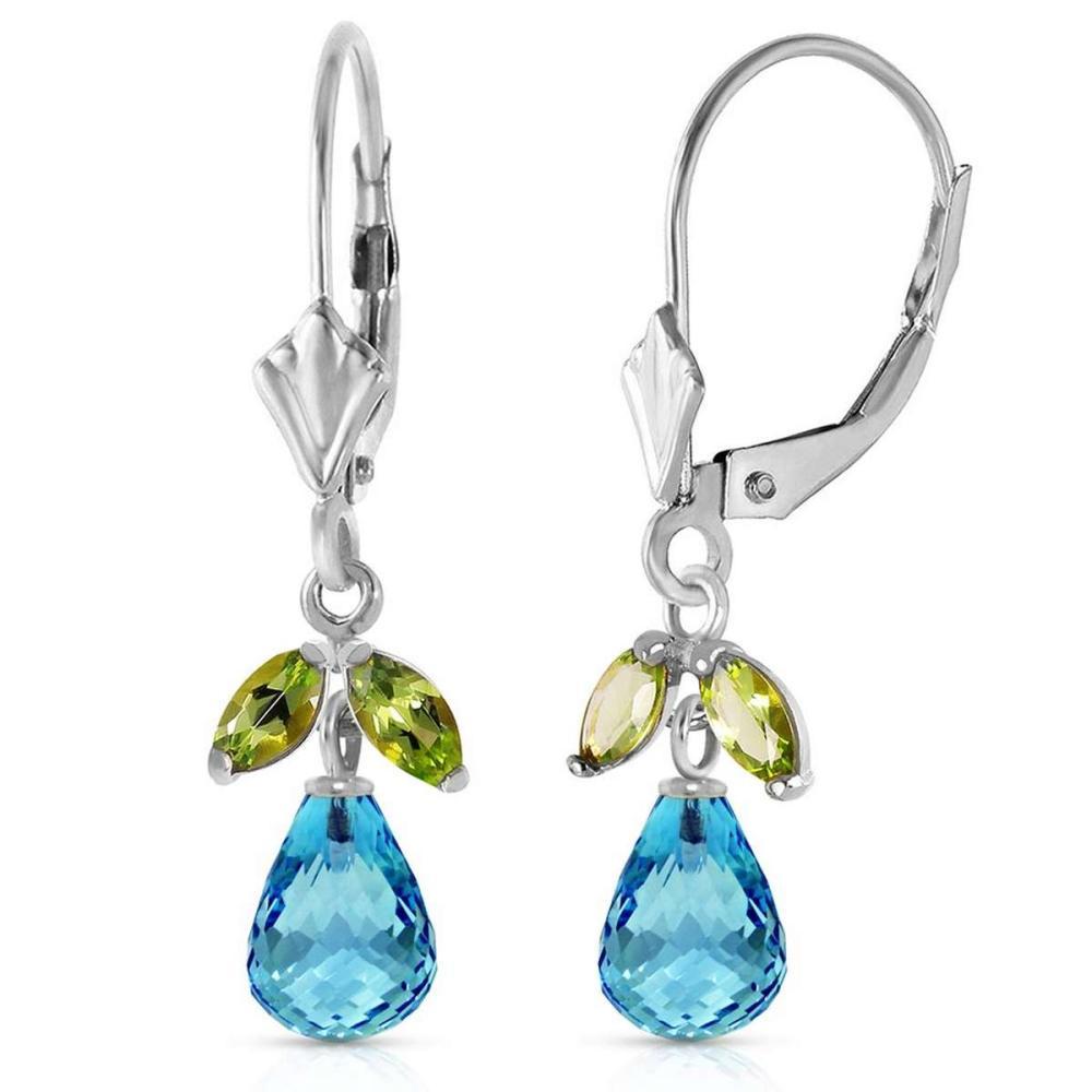 3.4 Carat 14K Solid White Gold Leverback Earrings Blue Topaz Peridot #IRS92716