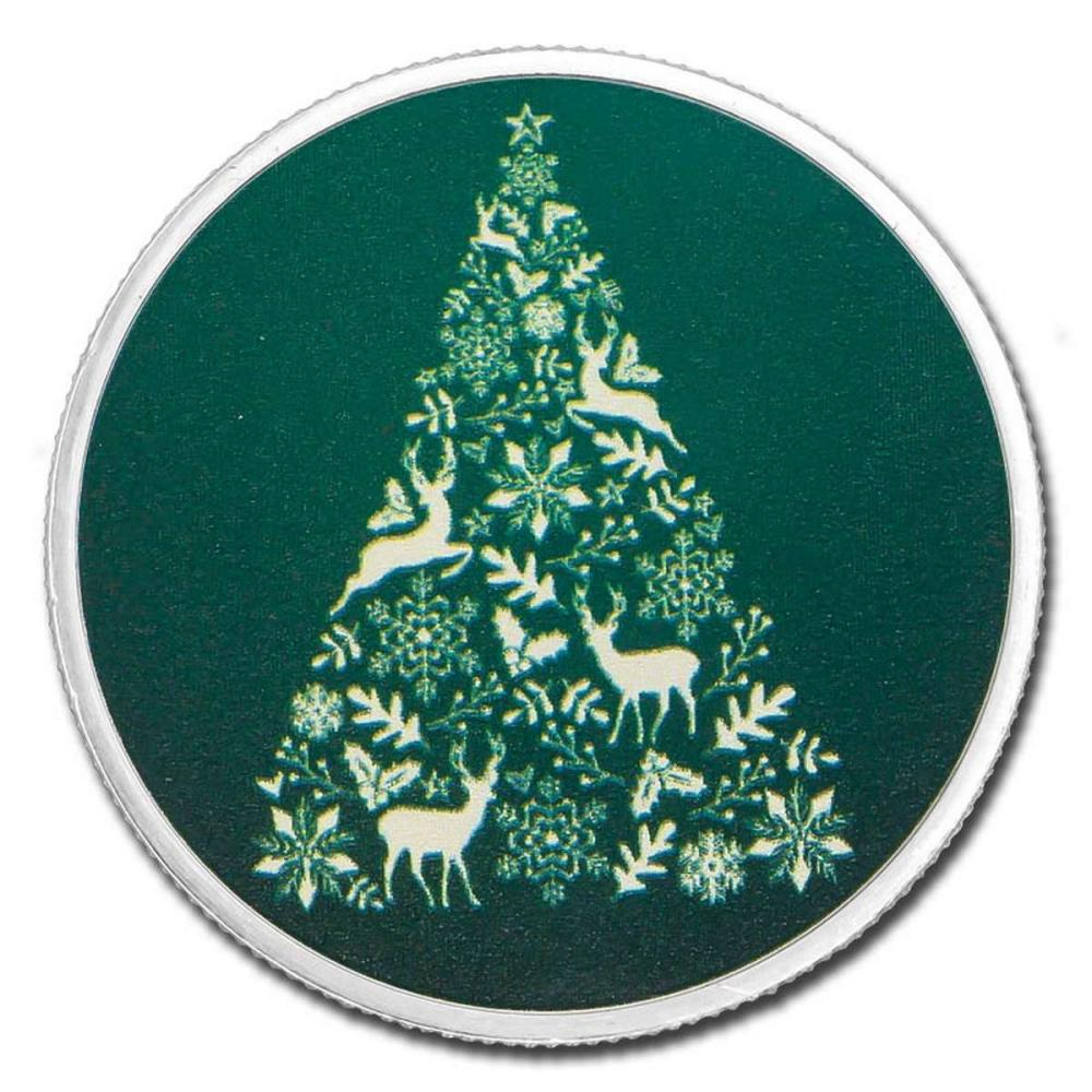 Colorized Christmas 2018 Silver Round Green Christmas Tree #IRS51165