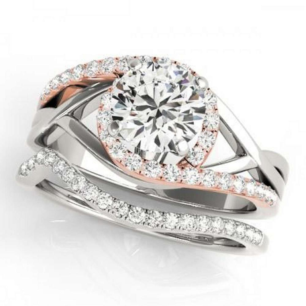 CERTIFIED 18KT TWO TONE GOLD 1.06 CTW G-H/VS-SI1 DIAMOND BRIDAL SET  #IRS86748
