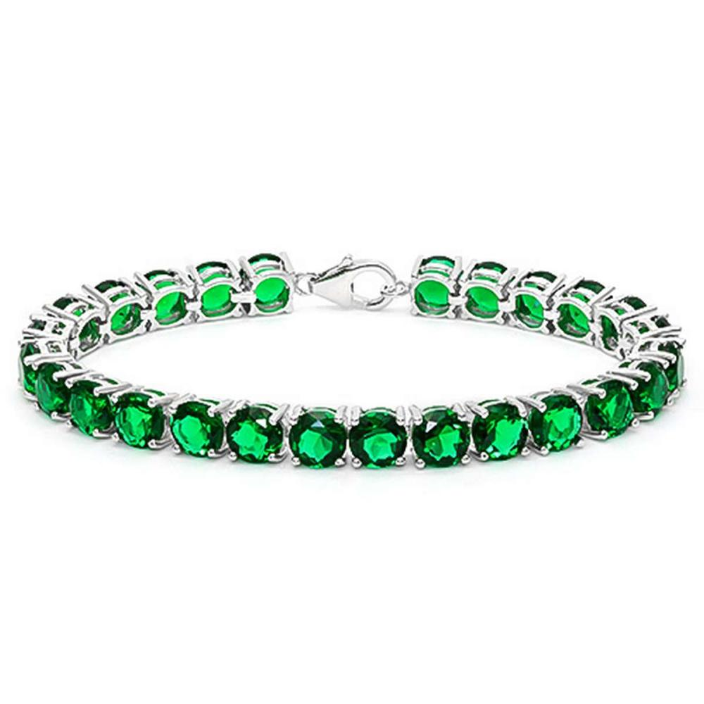 27 CT CREATED EMERALD 925 STERLING SILVER TENNIS BRACELET IN ROUDN SHAPE #IRS50081