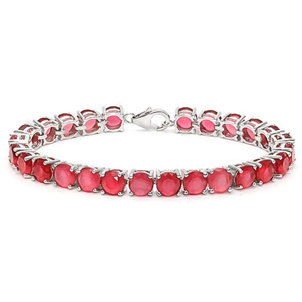 27 CT CREATED RUBY 925 STERLING SILVER TENNIS BRACELET IN ROUDN SHAPE #IRS50083