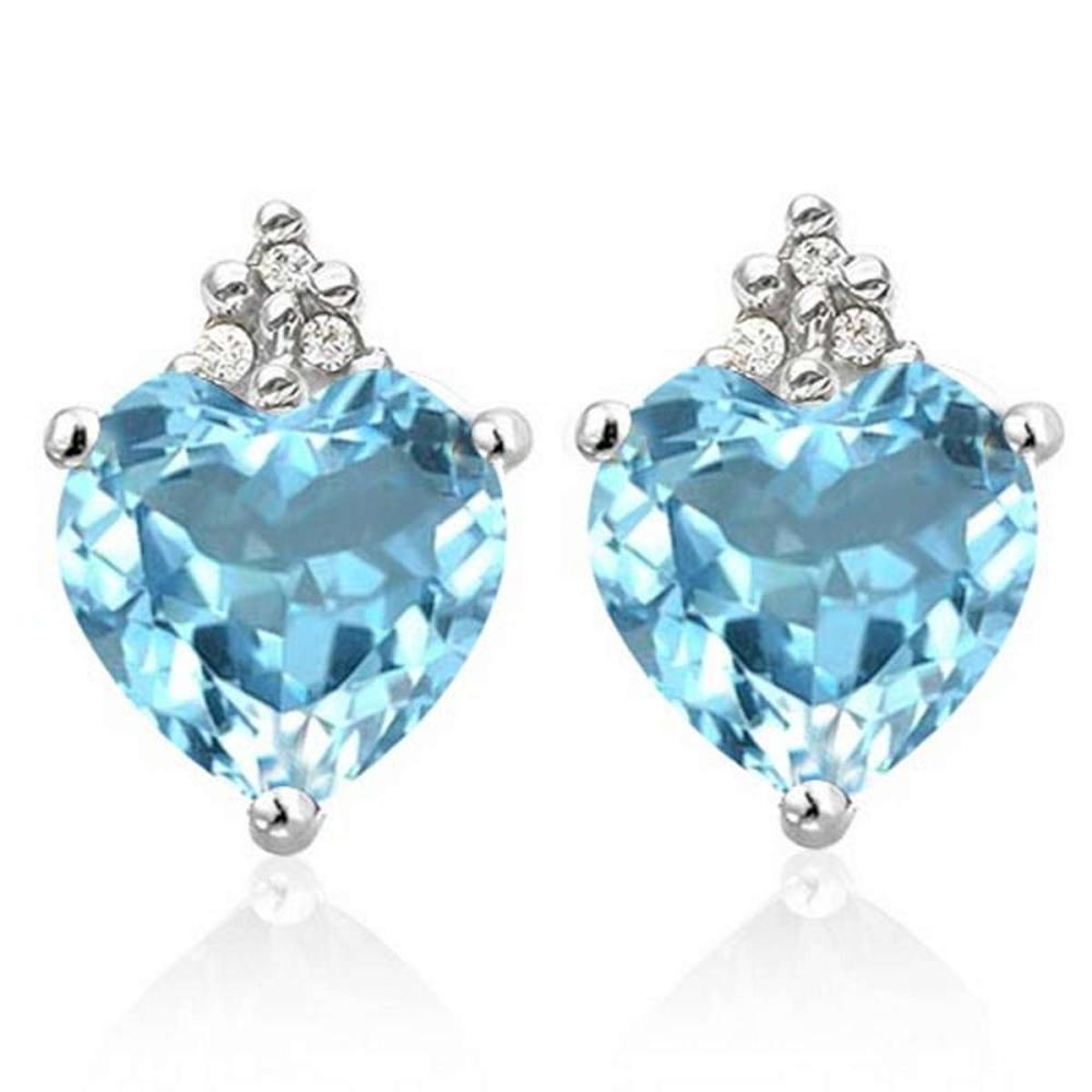 1.35 CARAT SKY BLUE TOPAZ 10K SOLID WHITE GOLD HEART SHAPE EARRING WITH 0.03 CTW DIAMOND #IRS50292