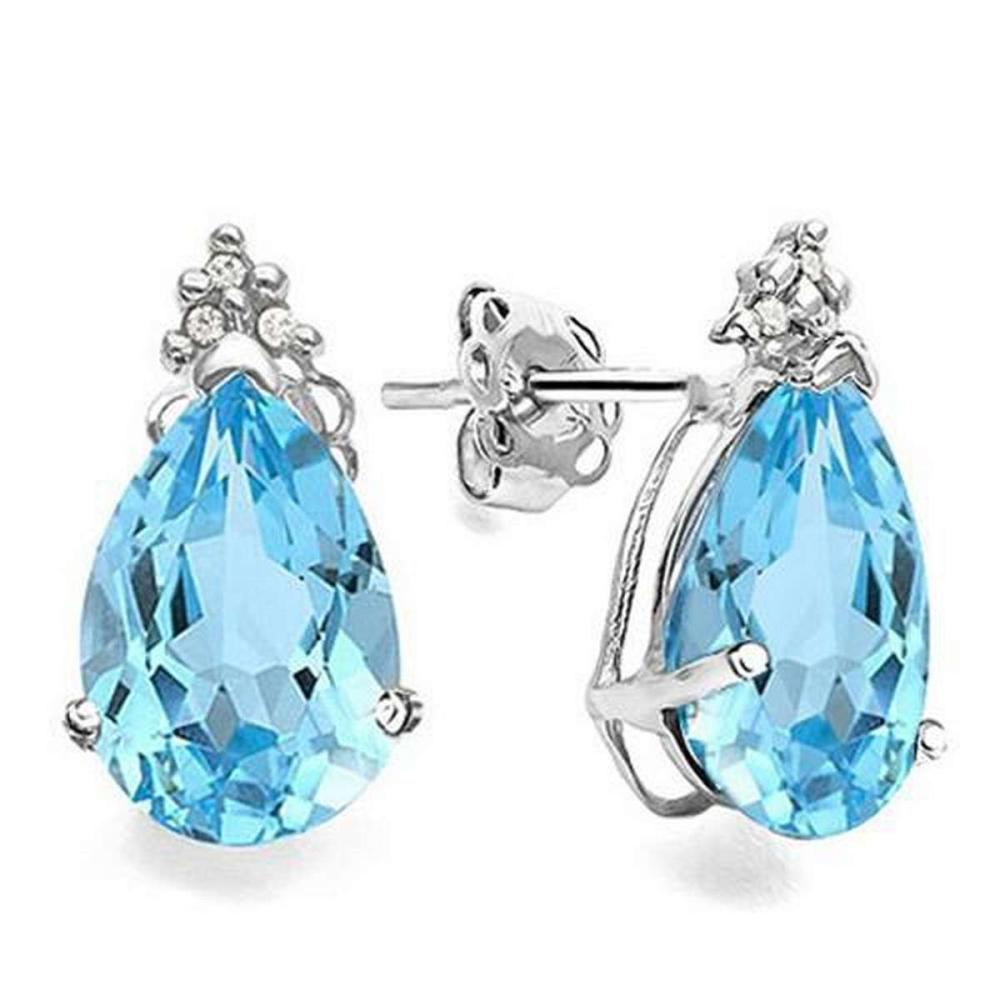 1.8 CARAT SKY BLUE TOPAZ 10K SOLID WHITE GOLD PEAR SHAPE EARRING WITH 0.03 CTW DIAMOND #IRS48803