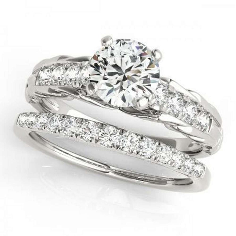 CERTIFIED 14KT WHITE GOLD 1.12 CTW G-H/VS-SI1 DIAMOND BRIDAL SET  #IRS86769