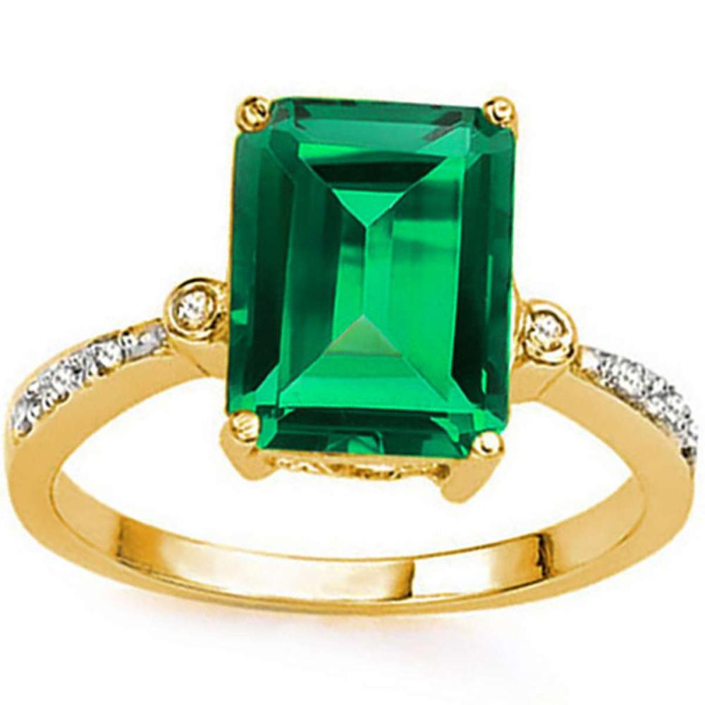 3.39 CTW RUSSIAN EMERALD & DIAMOND (VS CLARITY) 14KT SOLID YELLOW GOLD RING #IRS15459