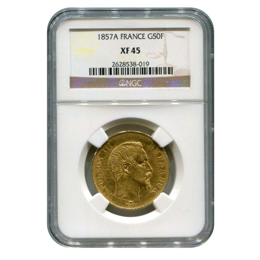 France Gold 50 Franc 1857A XF45 NGC #IRS96333