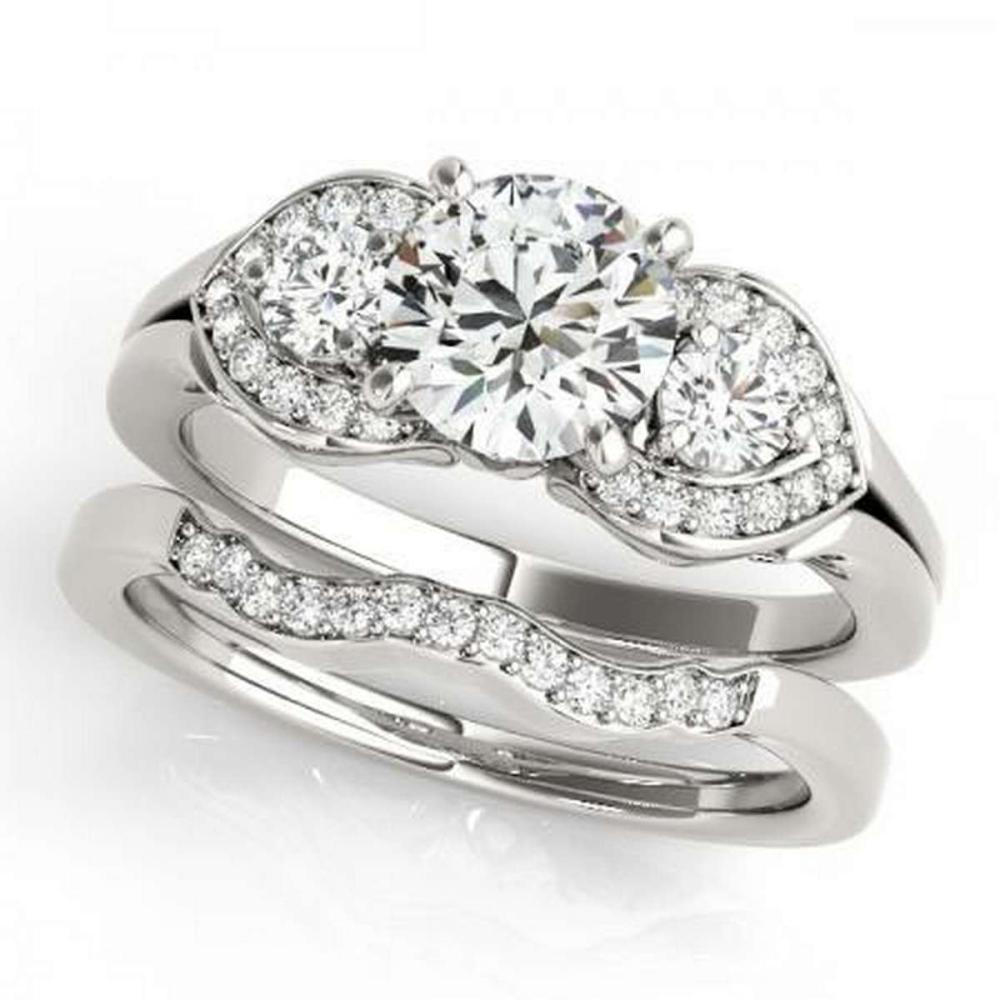 CERTIFIED 18KT WHITE GOLD 1.34 CTW G-H/VS-SI1 DIAMOND BRIDAL SET  #IRS86780