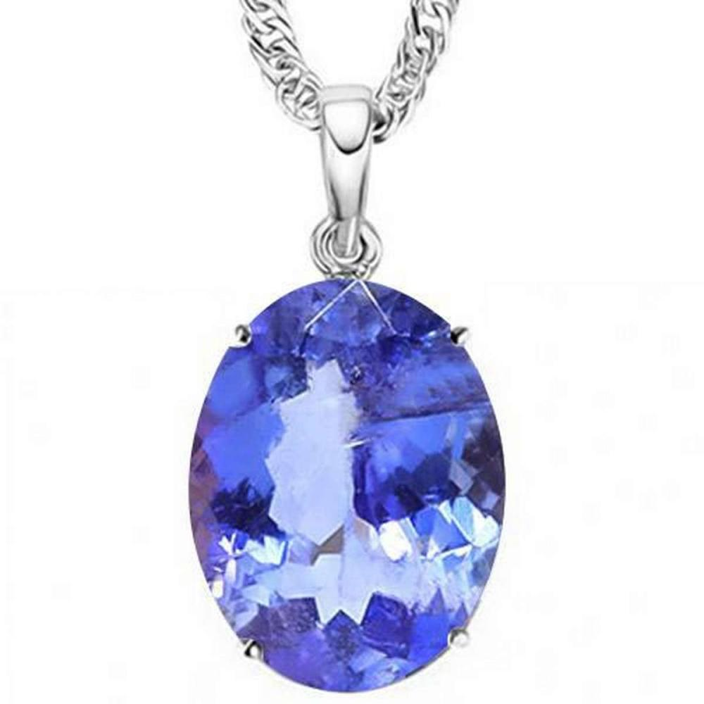 1.3 CTW LAB TANZANITE 10K SOLID WHITE GOLD OVAL SHAPE PENDANT #IRS36843