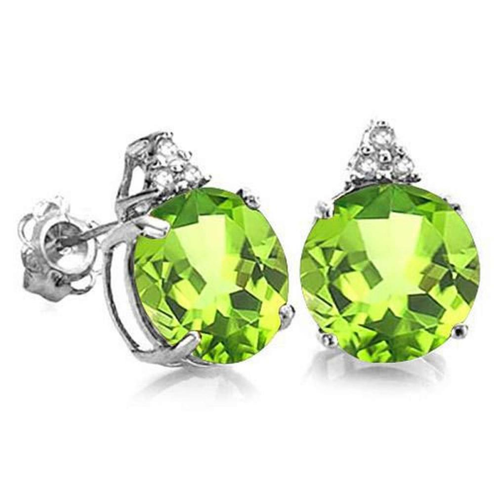2.0 CARAT PERIDOT 10K SOLID WHITE GOLD ROUND SHAPE EARRING WITH 0.03 CTW DIAMOND #IRS48812
