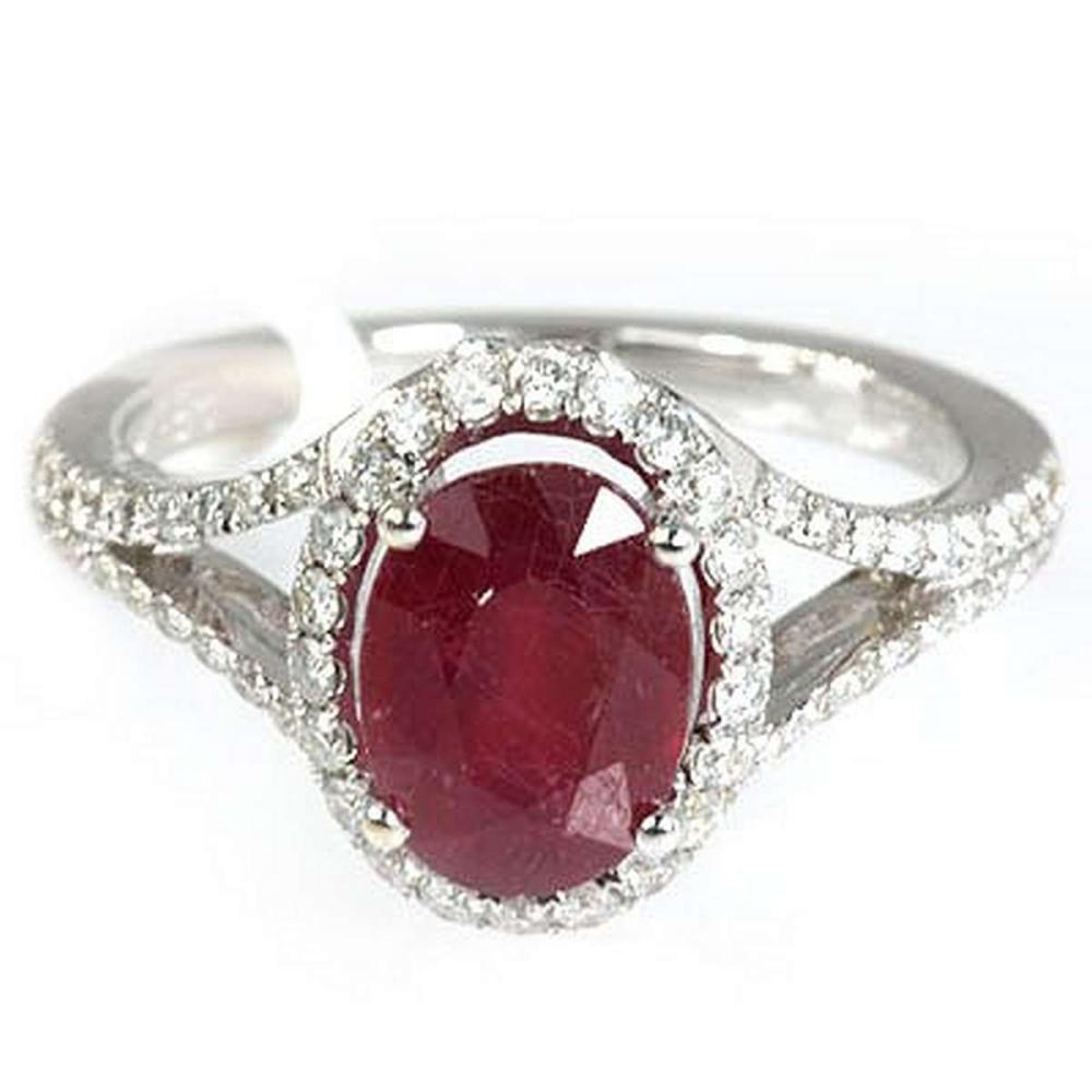 Genuine 3.50  ctw Ruby & Diamond  Ring 18kt Gold-White #IRS33302