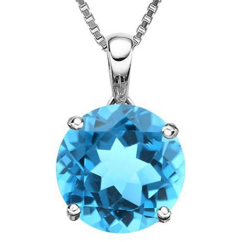 0.95 CTW SKY BLUE TOPAZ 10K SOLID WHITE GOLD ROUND SHAPE PENDANT #IRS36875