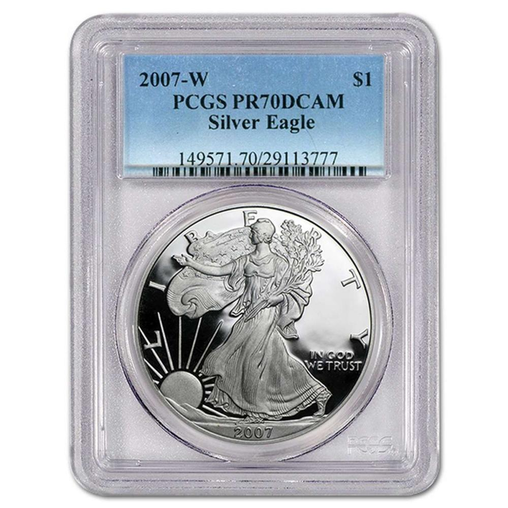 Certified Proof Silver Eagle 2007-W PR70DCAM PCGS #IRS98343