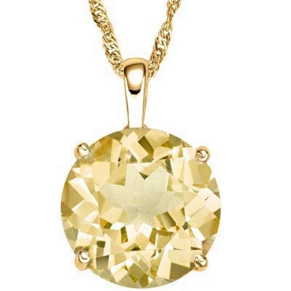 0.7 CTW CITRINE 10K SOLID YELLOW GOLD ROUND SHAPE PENDANT #IRS36958