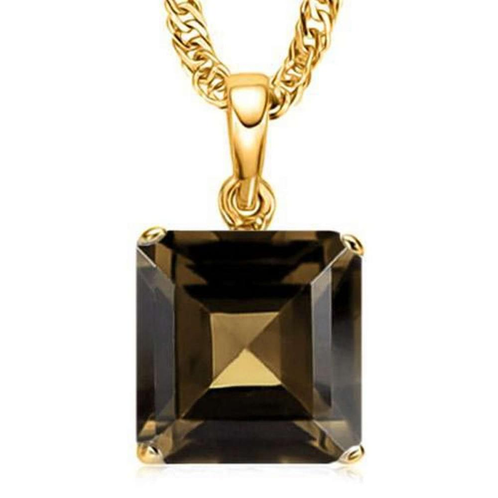 1.0 CTW SMOKEY 10K SOLID YELLOW GOLD SQUARE SHAPE PENDANT #IRS36972