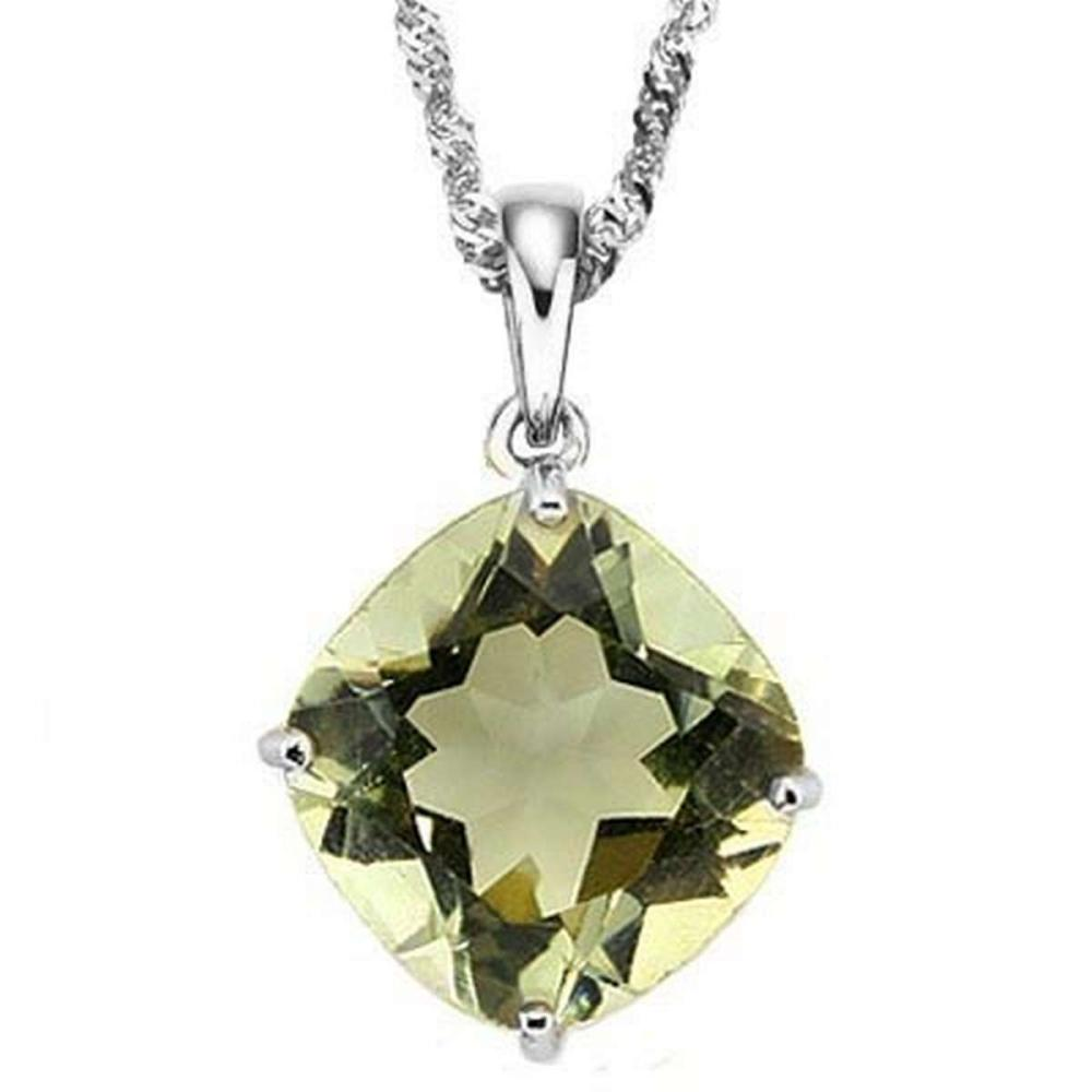 0.8 CTW GREEN AMETHYST 10K SOLID WHITE GOLD CUSHION SHAPE PENDANT #IRS36893