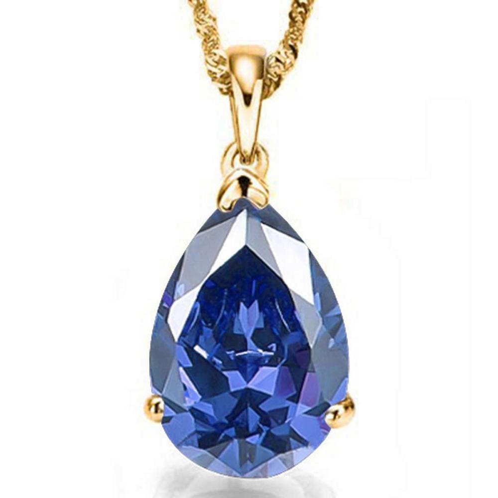 1.1 CTW LAB TANZANITE 10K SOLID YELLOW GOLD PEAR SHAPE PENDANT #IRS15473