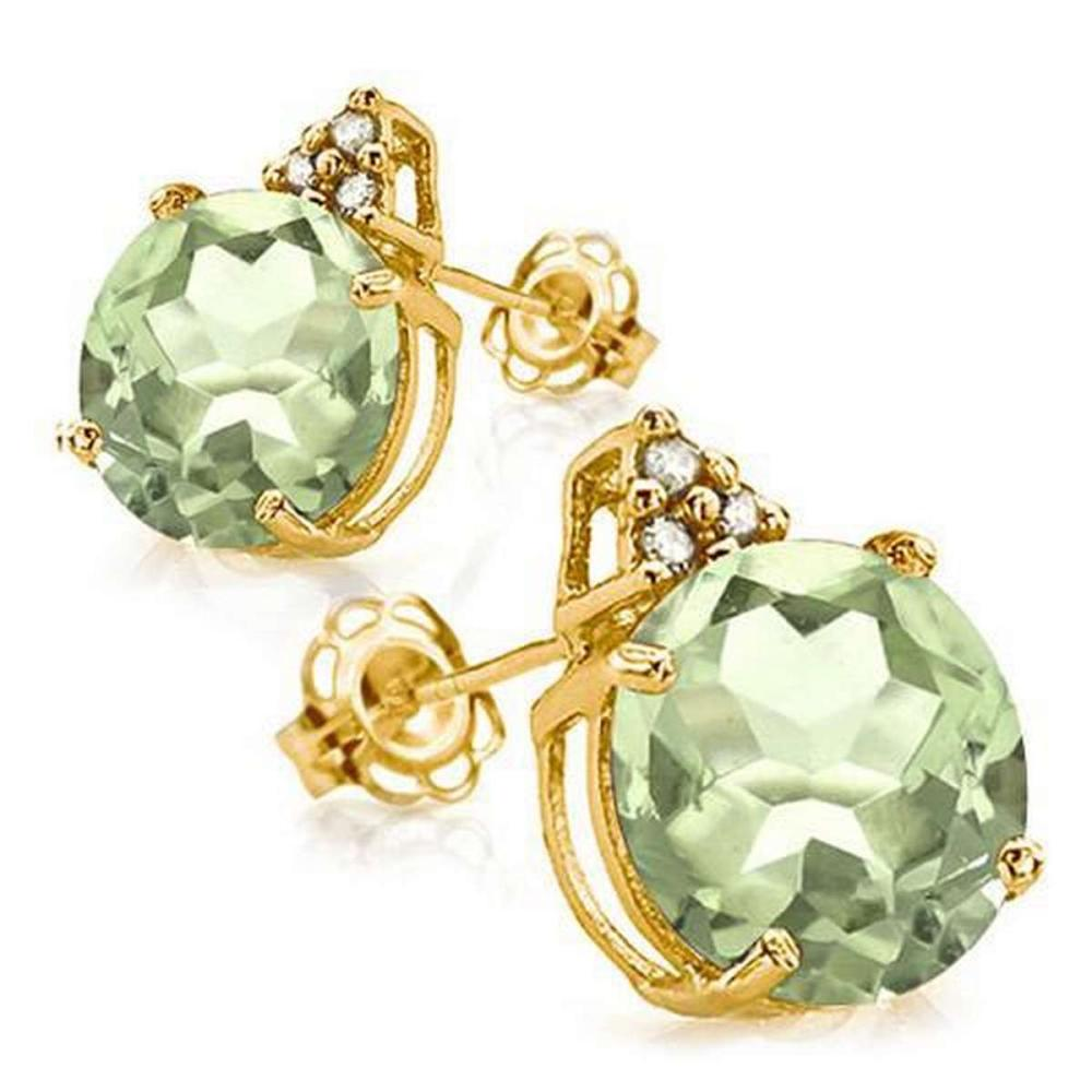 1.55 CARAT GREEN AMETHYST 10K SOLID YELLOW GOLD ROUND SHAPE EARRING WITH 0.03 CTW DIAMOND #IRS48866